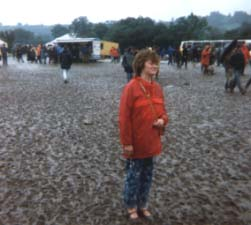 Val surveys the sea of mud - notice the shoes!